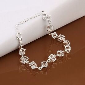 Silver Plated Fake Crystals Cube Bracelets