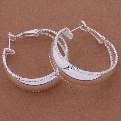 Womens 925 Sterling Silver Elegant 35mm Round Shape Vogue Hoop Earrings #E306