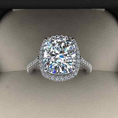 3.00 Ct. Natural Cushion Cut Halo Pave Eternity Diamond Engagement Ring - GIA 1