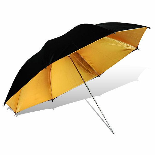"1PACK 40"" Reflector Umbrella Video Flash Reflective Photo Studio Black Gold"
