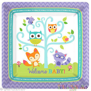 baby shower woodland welcome large paper plates 8 party supplies