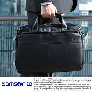 Samsonite Leather Expandable Briefcase (Black) For Sale