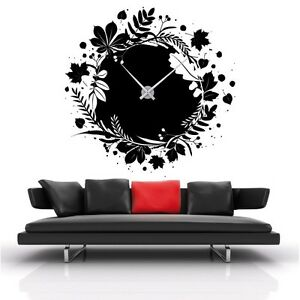 sticker mural horloge g ante feuilles design m canisme aiguilles ebay. Black Bedroom Furniture Sets. Home Design Ideas