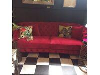 Beautiful Raspberry Velvet Chesterfield 3-4 seater sofa.