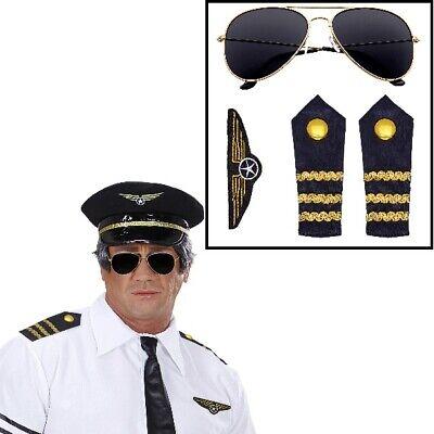4 tlg Piloten Pilotinnen Set  - Sonnenbrille - Schulterklappen Kostüm