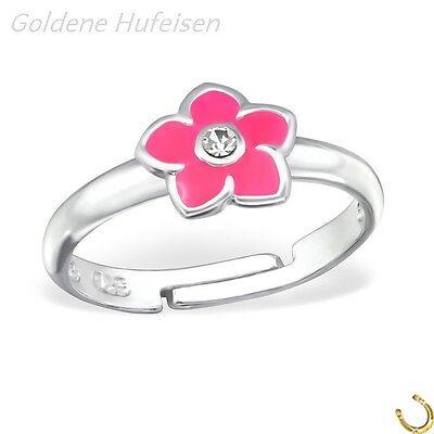 Kristall Blume Pink Kinder Ring 925 Echt Silber Kinderschmuck Geschenkidee / 699