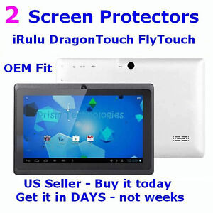 2x  - Screen Protectors - 7 inch iRulu FlyTouch DragonTouch Android Tablet PC