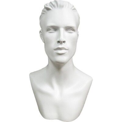 Mn-513 White Male Mannequin Abstract Head Form Display With Bust And Ears