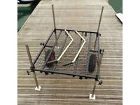 Penrose fishermans 2 wheel fishing trolley barrow platform, repainted black, collapsible, bargain