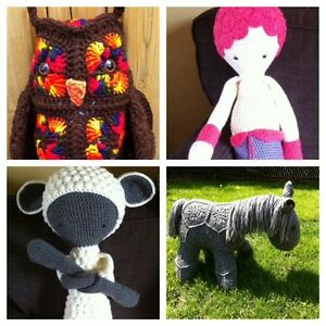 Handmade toys and blankets (prices listed in ad)