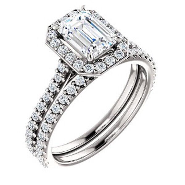 18K WG 2.30 Ct Halo Emerald Cut U-Setting Diamond Engagement Ring Set GIA F VVS2