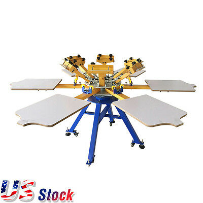 Us - 6 Color 6 Station Screen Printing Machine Press T-shirt Printer Carousel