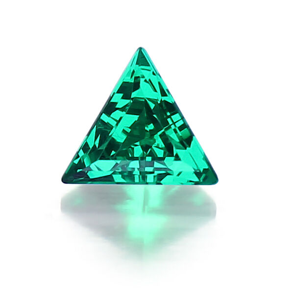 Lab Created Hydrothermal Colombian Emerald Triangle Loose Stones (3x3mm-12x12mm)