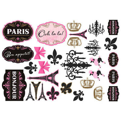 Eiffel Tower Cut Out (DAY IN PARIS Wall Cutout Signs Eiffel Tower French Bonjour Party Decorations)