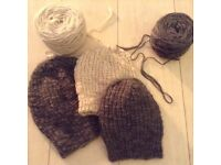"Hand Made Chunky Slouch Hats Alpaca, Wool, Mixed Fibre Look @""SIZES Adults Children MADE TO ORDER"