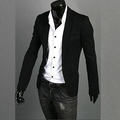 Stylish Men's Casual Slim fit One Button Suit Blazer Coat Jackets S M L XL