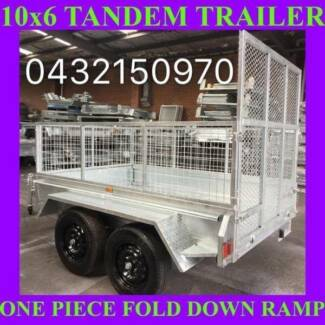 10x6 TANDEM TRAILER WITH CAGE FOLD DOWN RAMP HOP DIP GALVANISED 1