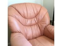 Leather chair with with pouffe