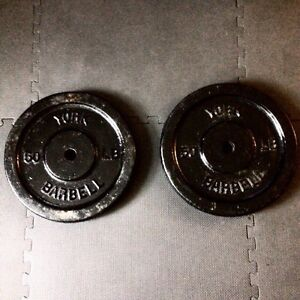 2 York 50lb Barbell Weight Plates