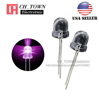 50pcs 10mm Led Diodes Purple/UV Light Emitting Diode Water Clear Round Top USA
