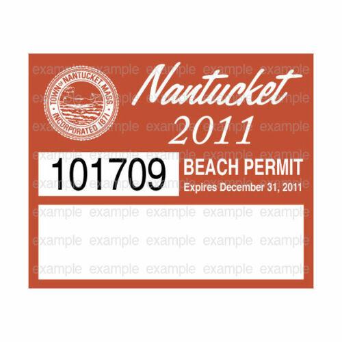 Nantucket Beach Permit Sticker Decal 2011 ACK