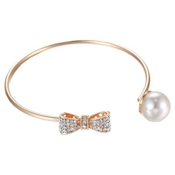 Faux Pearl Rhinestone Bowknot Cuff Bracelet