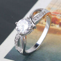 GORGEOUS 18K WHITE GOLD FILLED WOMAN PROMISE RING SZ. 6.5