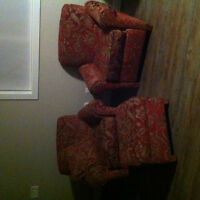 2 Red Armchairs With Automan