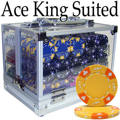 New 600 Ace King Suited 14g Clay Poker Chips Set with Acrylic Case - Pick Chips! ()