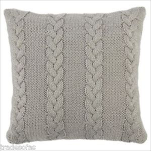 SCANDI GREY CABLE KNIT CUSHION COMPLETE COVER + FILLING HOME SOFA DECOR X 2 NEW