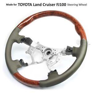 TOYOTA Land Cruiser 100 Series 03-07 FJ100 OEM Steering Wheel Leather Wood Grain