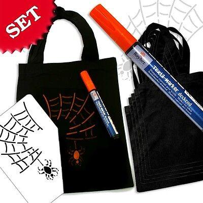 nnen-Baumwolltaschen f. Kindergeburtstag/Halloween +Schablone (Halloween Taschen Für Kinder)