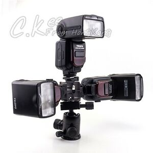 Metal-Three-Hotshoe-Umbrella-Holder-Swivel-Flash-Speedlite-Light-Stand-Bracket