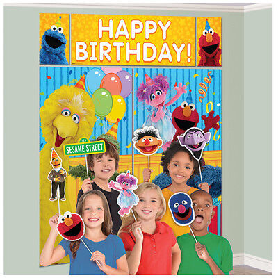 (SESAME STREET SCENE SETTER Party Wall Decoration Photo Booth Props ELMO BIG BIRD)