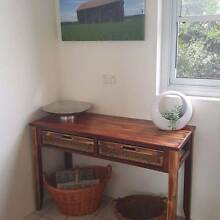 Distressed Timber Sideboard Hall Table Console W Cane Baskets Coogee Eastern Suburbs Preview