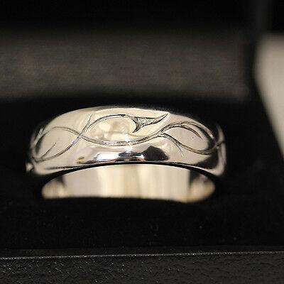 Men's Palladium ring, with wave pattern engraving.  Handmade. Palladium Engraved Ring