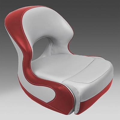 Classic Pontoon Boat Bucket Seat in Gray and Red Pontoon Bucket Seat