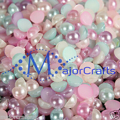 2000pcs 4mm Pastel Mixed Colours Flat Back Half Round Resin Pearls Craft Gems