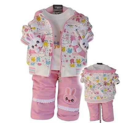 Kaninchen Kleinkind Kostüm (Kleinkinder Mädchen 3 TEILE Sportlicher Stil Kostüm Kaninchen Größe 1-3 Jahre)