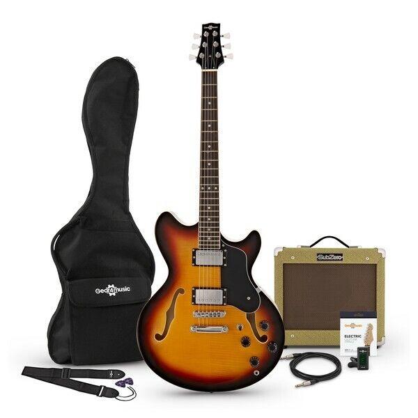 San Francisco Semi Acoustic Guitar + SubZero V35RG Amp Pack Sunburst