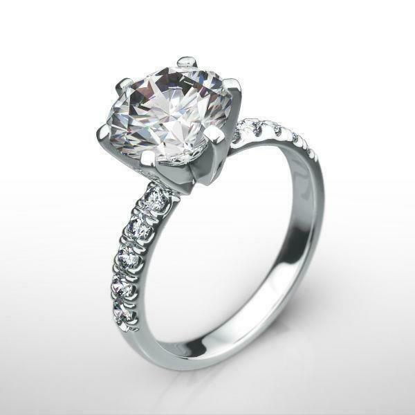 Awesome Diamond Ring Round Cut Certified Womens 2 Ct 18k White Gold Size 6.5 8 9