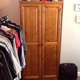 Antique Pine 2 Door Wardrobe (Single Shelf & Hanging Rail)