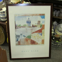 LARGE FRAMED PAUL KLEE PRINT 24 X 31 WALNUT FRAME ART WALL DECOR