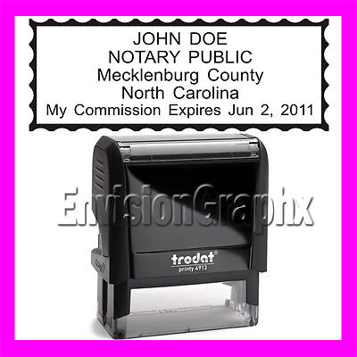 Custom Official Notary Public North Carolina Self Inking Rubber Stamp T4913 Bk