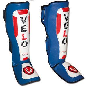 VELO-Cuero-Espinilleras-Pad-Empeine-mma-Pierna-Base-Gel-Muay-Thai-Kick-Boxing