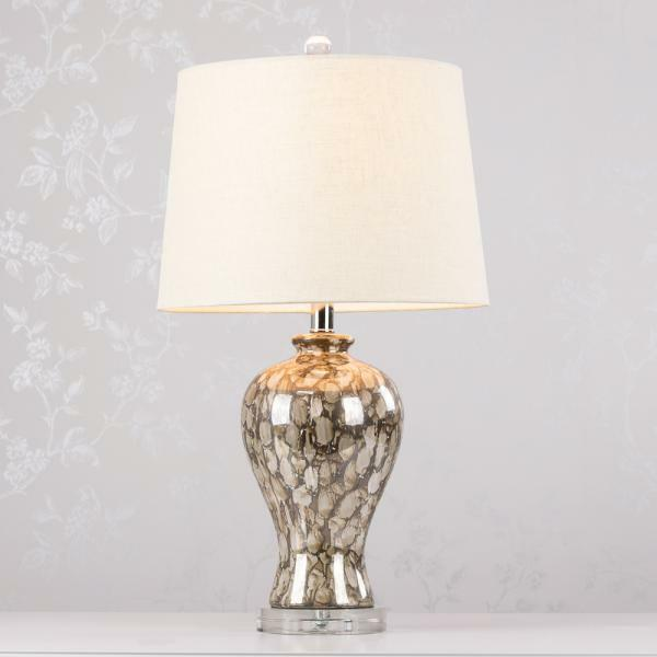 Brown Cream Ceramic Bedside / Table Lamp with Crystal Base 64cm (GB483)