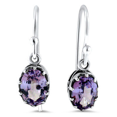 COLOR CHANGING LAB ALEXANDRITE ANTIQUE DESIGN 925 STERLING SILVER EARRINGS, #426