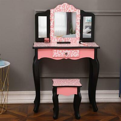 Children Dresser Table Single Drawer Three-Fold Mirror Arc Feet Print Chair Set