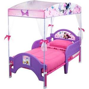 Bed with canopy disney minnie mouse kids bedroom furniture girls