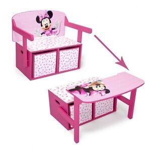 Disney Minnie Mouse 3in1 Kindertruhenbank Kindertisch Kindersitzbank + Tisch
